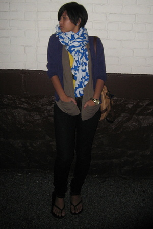 J Crew shirt - eileen fisher vest - banana republic sweater - Serfontaine jeans