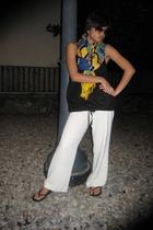 H&M blouse - anne taylor loft pants - Present scarf