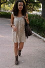 Brown-stradivarius-boots-mustard-pull-bear-dress-dark-brown-pimkie-bag