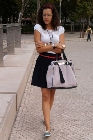 black Zara skirt - ivory Promod shirt - Parfois bag