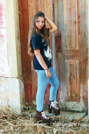 fur UNIF boots - romwe shirt
