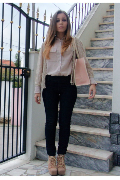 H&M shirt - Ebay boots - skinny jeans Pull and Bear jeans - OASAP bag