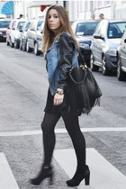 black chicnova bag - black romwe boots - romwe jacket - black romwe skirt