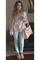 light blue Zara jeans - light pink H&M shirt - light pink OASAP bag