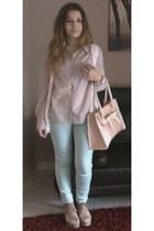 light blue Zara jeans - light pink H&M shirt - light pink OASAP bag
