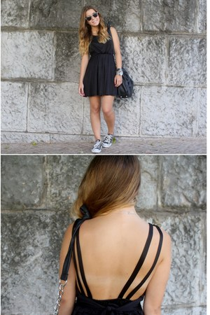black Ebay dress - black Primark bag - black Converse sneakers