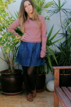 Primark sweater - jean dress Pull and Bear dress - tights - Primark necklace