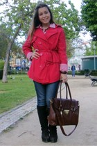 red Promod coat - dark brown Calado Guimares boots - jeans Mango jeans