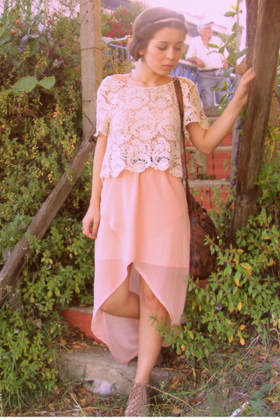peach OASAP dress - brown Stradivarius bag - peach Primark accessories
