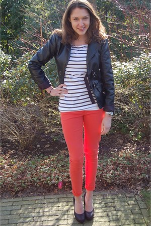 leather Vero Moda jacket - striped H&amp;M t-shirt - H&amp;M pants - Tango heels - Micha
