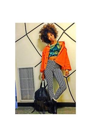 print Forever 21 pants - black Nine West boots - orange thrifted jacket