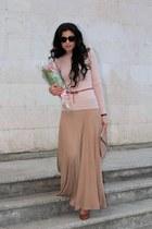 bronze Bershka heels - light pink Naf Naf blazer - beige asos bag