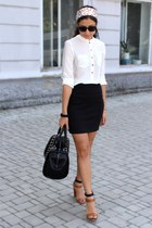 off white H&M blouse - black Zara bag - bronze Zara heels