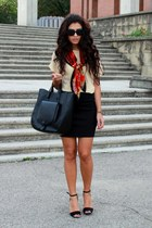 black Zara bag - black Zara heels - black Chanel glasses