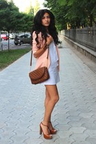 bronze Bershka bag - white handmade dress - nude Bershka coat
