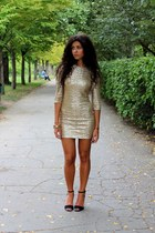 mustard TFNC dress - black Zara heels - mustard Stradivarius bracelet