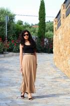 beige Bershka skirt - beige fullah sugar bag - black Zara heels - black H&M top