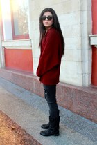 crimson Alcott cardigan - dark gray Bershka jeans - tan Guess accessories