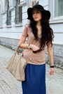 Blue-viva-skirt-black-h-m-hat-nude-reporter-t-shirt-gray-asoscom-watch