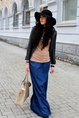 blue Viva skirt - black H&amp;M hat - nude Reporter t-shirt - gray asoscom watch