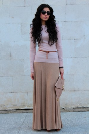 burnt orange Bershka shoes - light pink Naf-Naf blazer - peach asos bag