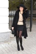 black H&M hat - beige Zara blazer - black Promod skirt - black le scarpe heels