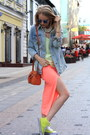 Light-blue-zara-jacket-carrot-orange-topshop-bag-chartreuse-zara-top