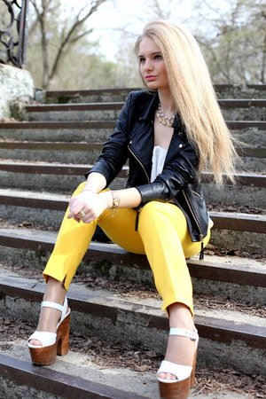 black Zara jacket - white Topshop shoes - yellow Zara pants