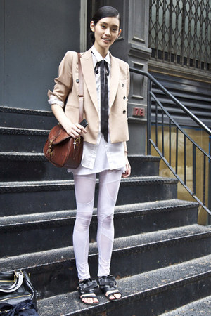 white shirt - eggshell jacket - crimson bag - white stockings