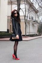 black asos dress - red asos shoes - black Be free jacket - ruby red asos bag