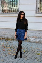 navy Zara skirt - black Zara heels - black Zara blouse - black H&M necklace
