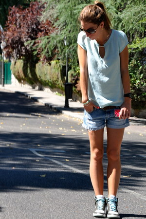 brown nike sneakers - lime green Zara shirt - sky blue Stradivarius shorts