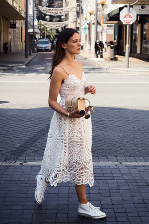 white seed dress - neutral Givenchy bag - white Converse sneakers