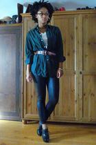 thrifted shirt - FOTL t-shirt - thrifted belt - American Apparel pants - Guess s