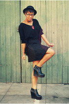 black f21 sweater - black acne shoes - black skirt - red paraphernalia necklace