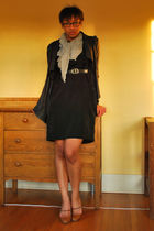 black handmade dress - black Kill City jacket - gray f21 scarf - brown emporio a