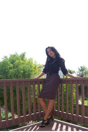 black Go International blouse - brown vintage skirt - black Zaraa shoes - black