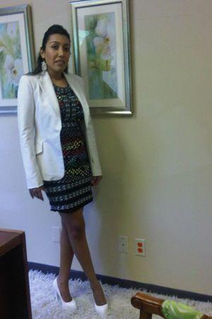 white Zara jacket - BCBG blouse - white BCBG skirt - white charlette russe shoes