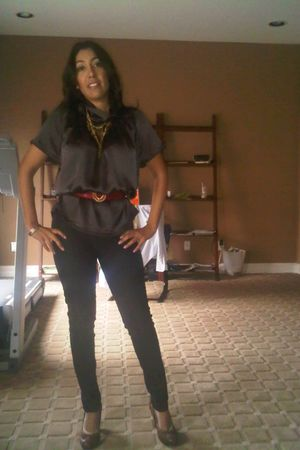 brown BCBG top - red Moschino belt - black f21 leggings - brown sam edelman shoe
