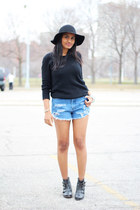 black Forever 21 sweater - ankle boots Urban Outfitters boots - black H&M hat