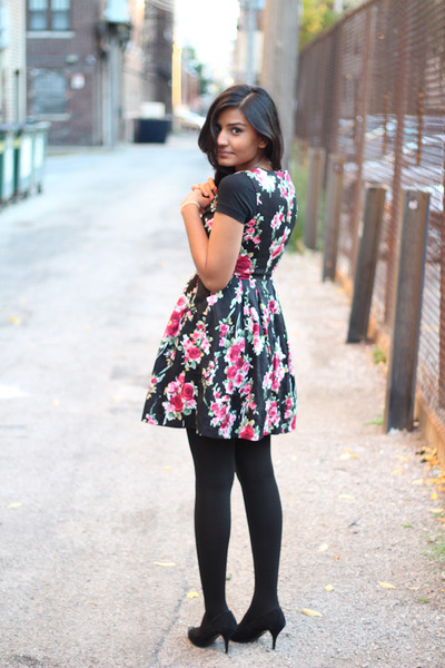 black Target shirt - floral print TJMaxx dress - suede Zara heels