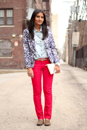 red TJMaxx jeans - printed H&M blazer - chambray Forever 21 shirt