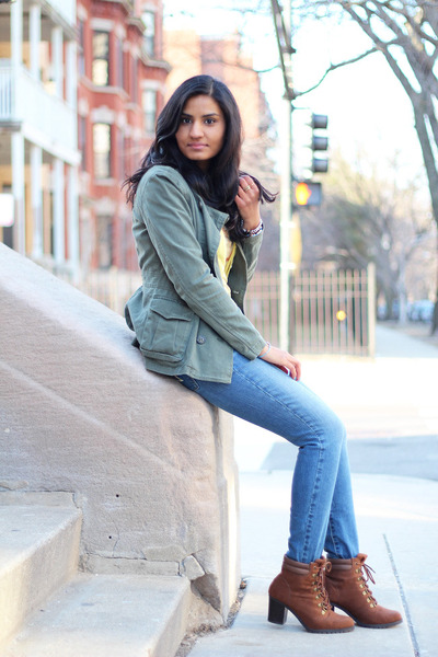 green H&M jacket - ankle boots Old Navy boots - denim American Eagle jeans