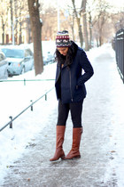 navy H&M coat - brown Vince Camuto boots - knitted H&M hat