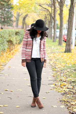 floppy hat H&M hat - ankle boots Old Navy boots - printed Forever 21 cardigan