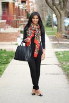 leopard print Zara scarf - black asos jeans - tote Target bag