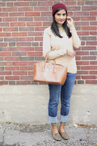 denim abercrombie and fitch jeans - beanie Forever 21 hat - camel Gap sweater