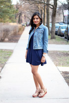 denim Gap jacket - navy navy Forever 21 dress - stripes Payless wedges