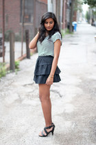 high-waisted Zara skirt - striped Gap t-shirt - strappy Belk heels
