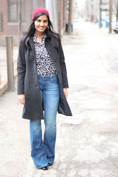 flared Paige jeans - beanie Forever 21 hat - leopard print Zara blouse